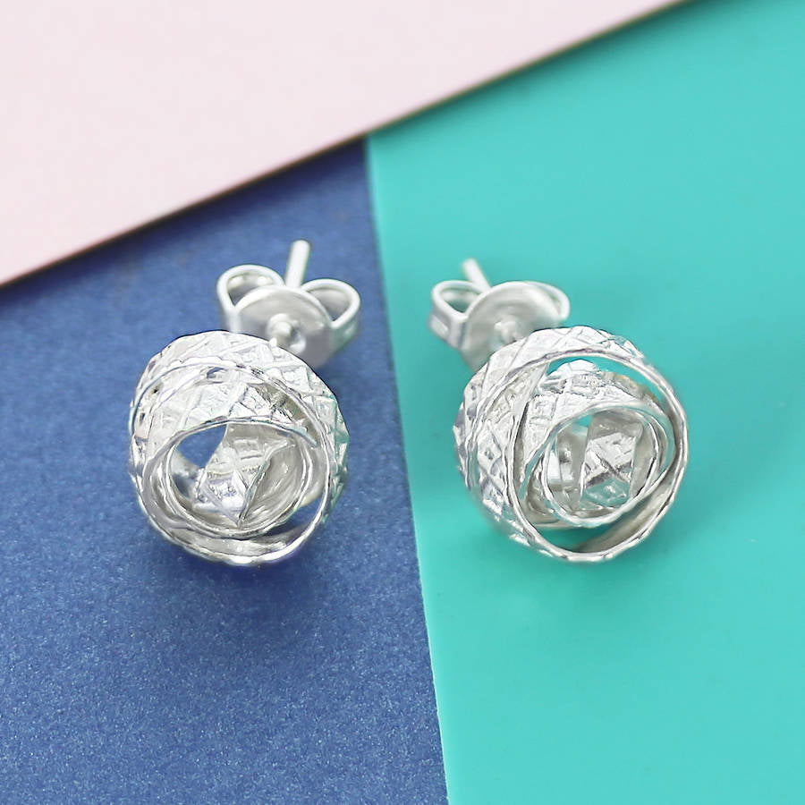 Textured Silver Wire Stud Earrings