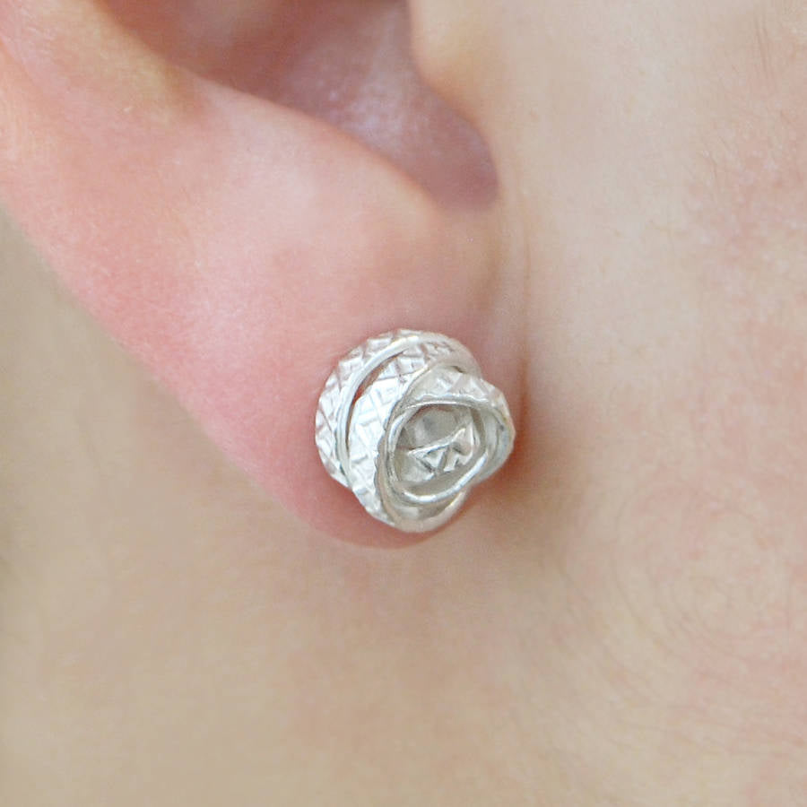 Textured Silver Wire Stud Earrings - Otis Jaxon Silver Jewellery