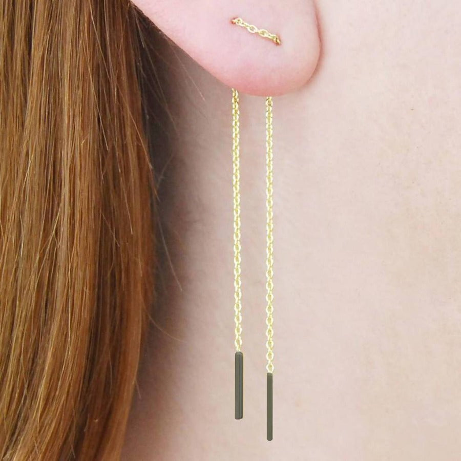 Threader Chain Earrings in Gold and Black - Otis Jaxon Silver Jewellery