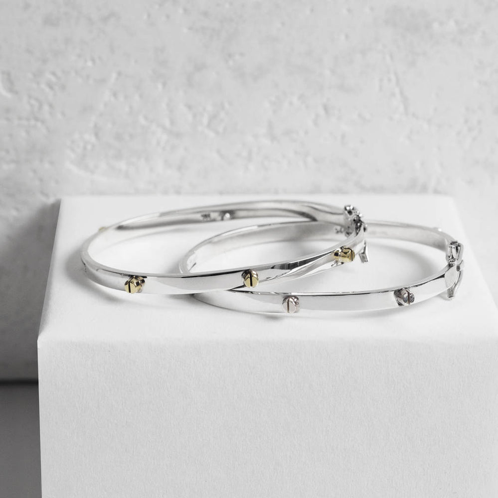 Silver and Gold Raised Screw Bangle - Otis Jaxon Silver Jewellery