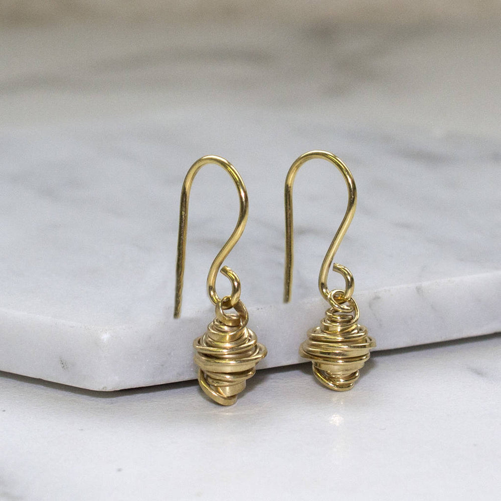 Gold Coil Silver Drop Earrings - Otis Jaxon Silver Jewellery