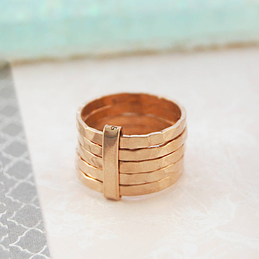 Hammered Rose Gold Stacking Ring
