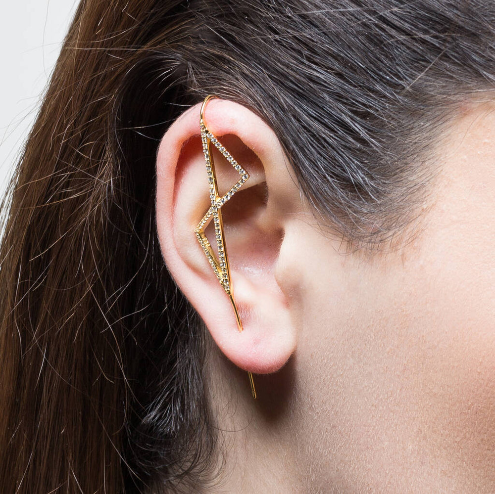 Gold Geometric Zirconia Ear Cuff - Otis Jaxon Silver Jewellery