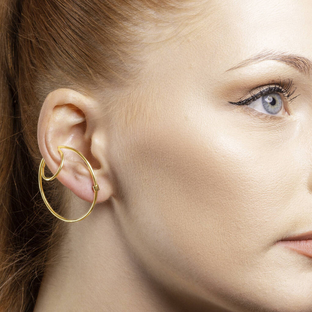 Gold Hoop Ear Cuff Stud Earrings
