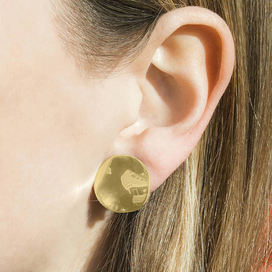 Gold Round Plain Clip On Earrings