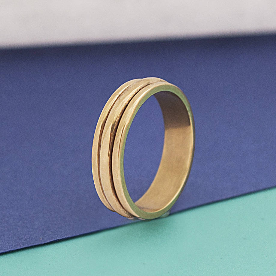 Gold Sterling Silver Spinning Ring