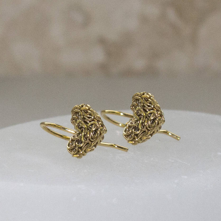 Mesh Heart Gold Drop Earrings - Otis Jaxon Silver Jewellery