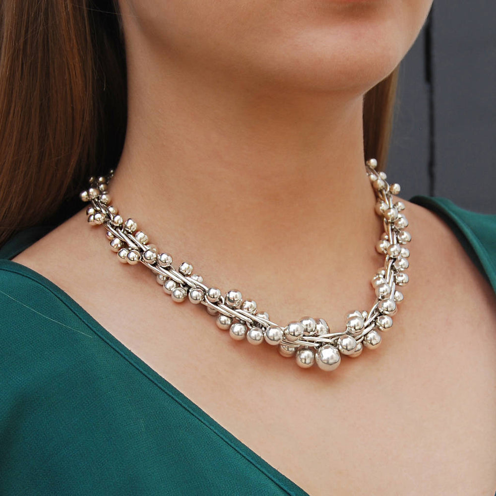 Silver Peppercorn Chunky Statement Necklace