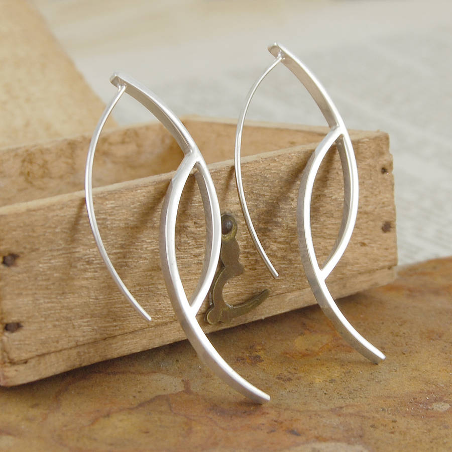 Ellipse Sterling Silver Drop Earrings - Otis Jaxon Silver Jewellery