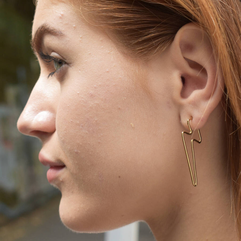 Gold Lightning Bolt Hoop Stud Earrings - Otis Jaxon Silver Jewellery