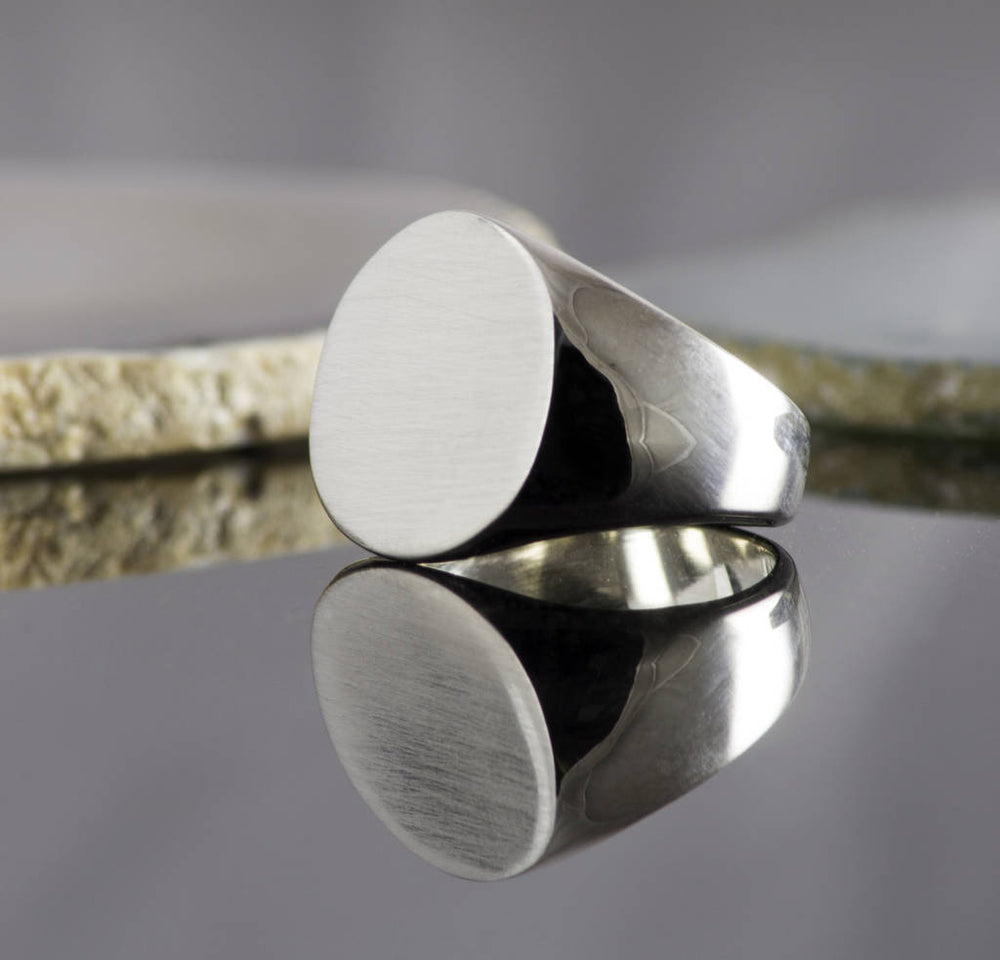 Circular Solid Silver/Gold Signet Ring
