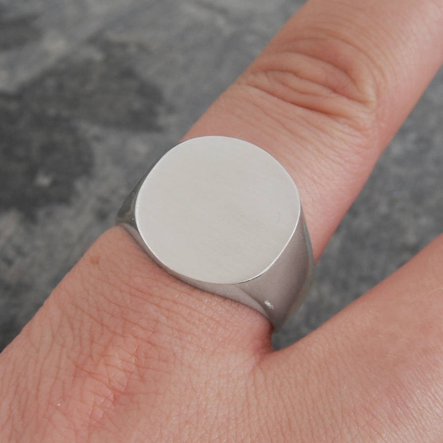 Circular Solid Silver/Gold Signet Ring - Otis Jaxon Silver Jewellery