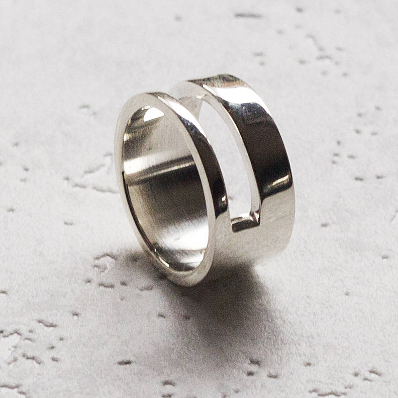 Solid Silver Men's Rectangle Ring