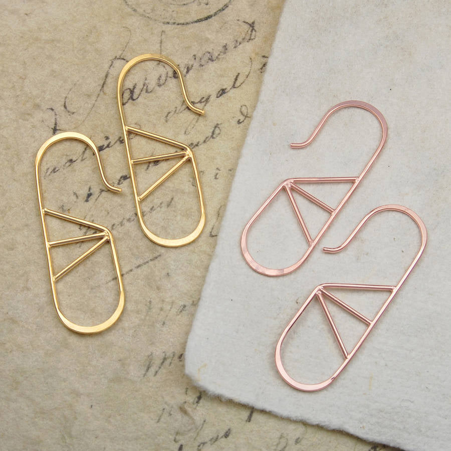Geometric Oval Wire Yellow Gold/Rose Gold Hoop Earrings