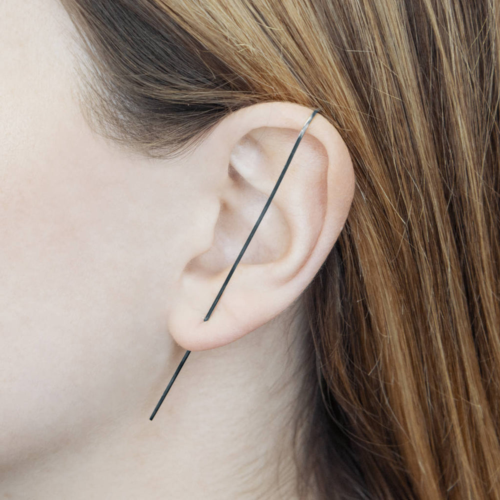 Oxidised Silver Bar Ear Pin Earrings