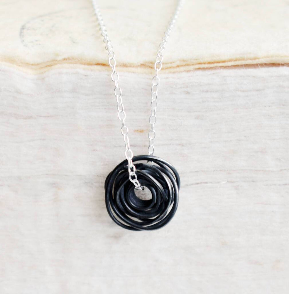 Nest Oxidised Silver Necklace