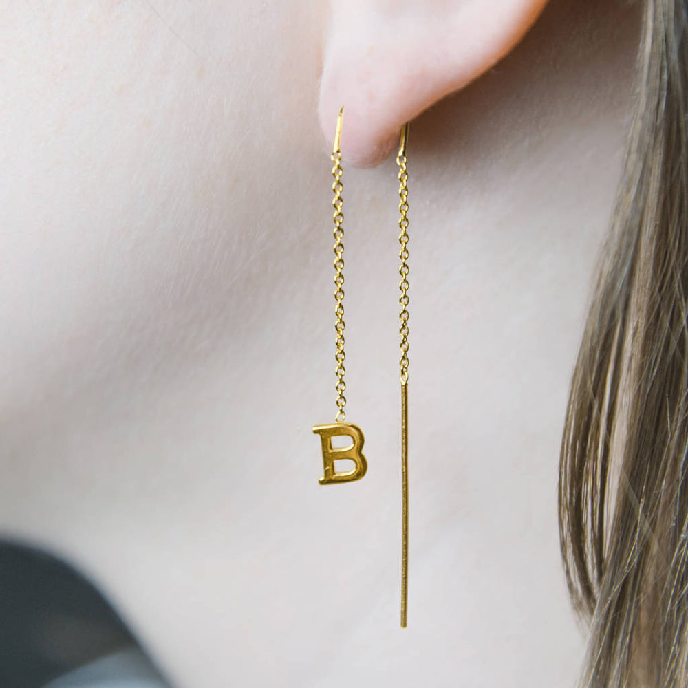 Gold Personalised Initial Threader Earrings