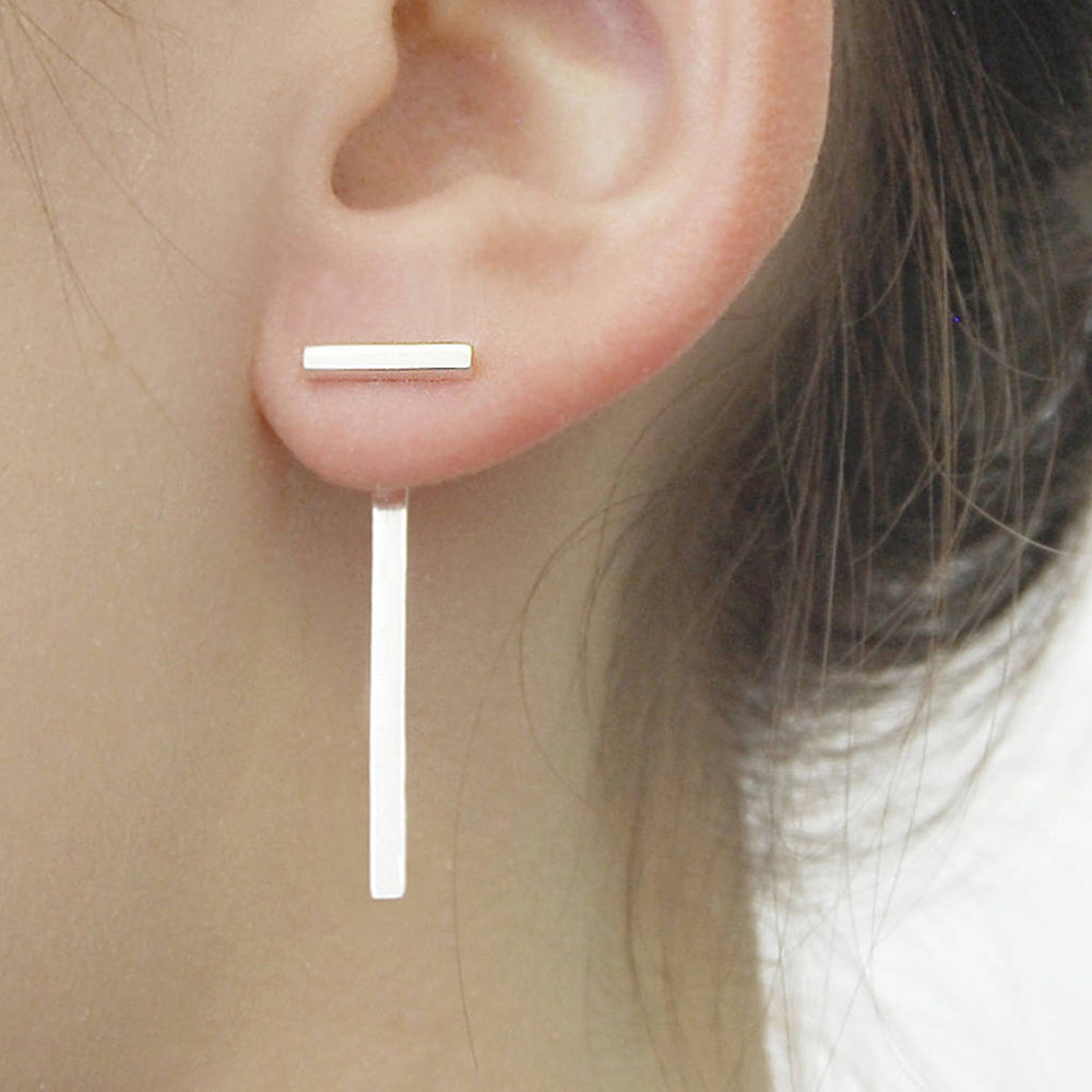Rose Gold Bar Two Way Ear Jacket Earrings