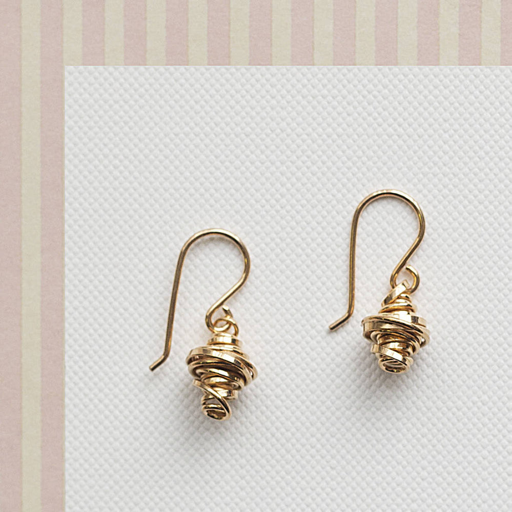 Gold Coil Silver Drop Earrings