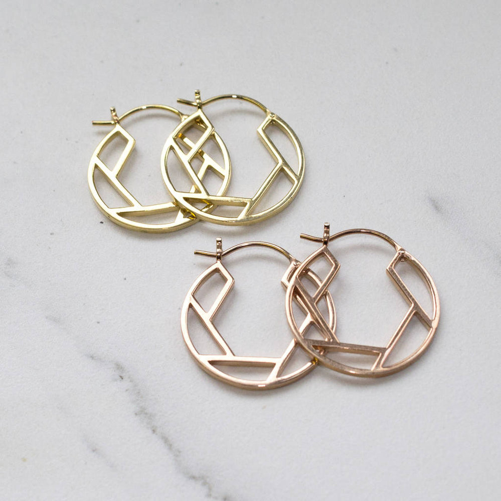Rose Gold/Gold Geometric Round Hoop Earrings - Otis Jaxon Silver Jewellery