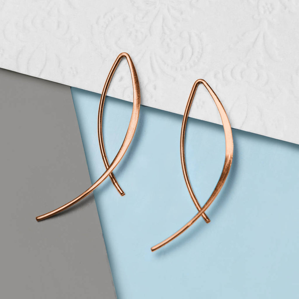 Rose Gold Wishbone Drop Earrings