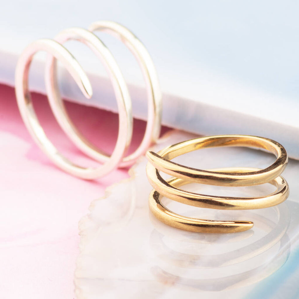 Silver And Gold Corkscrew Spiral Rings