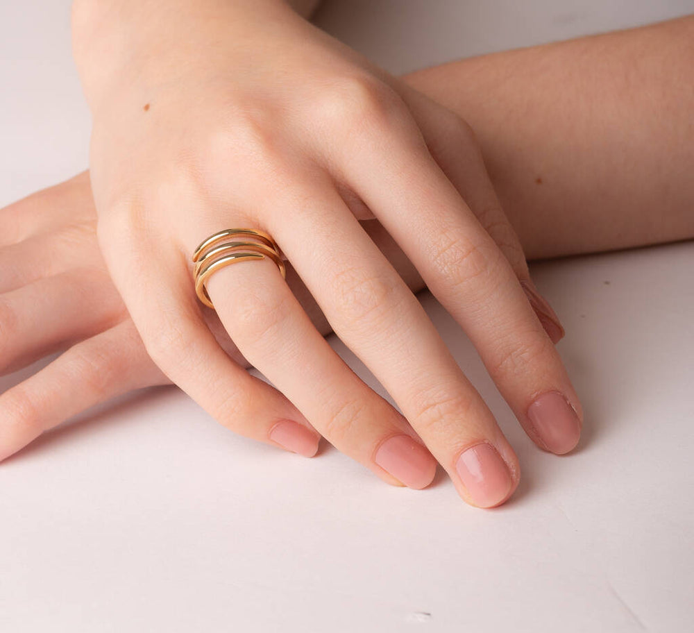 Silver And Gold Corkscrew Spiral Rings - Otis Jaxon Silver Jewellery