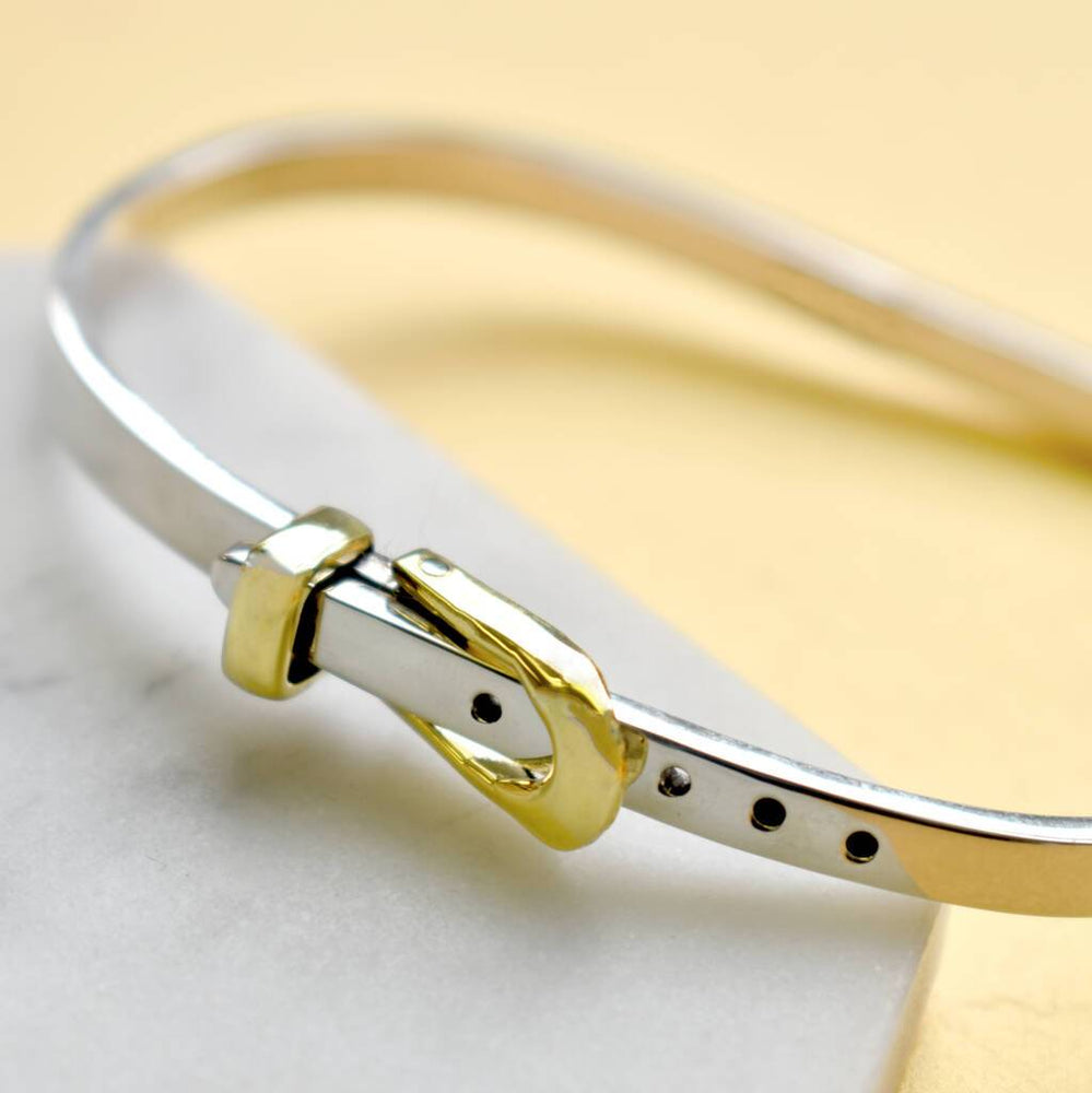 Belt Gold and Silver Hinged Bangle - Otis Jaxon Silver Jewellery