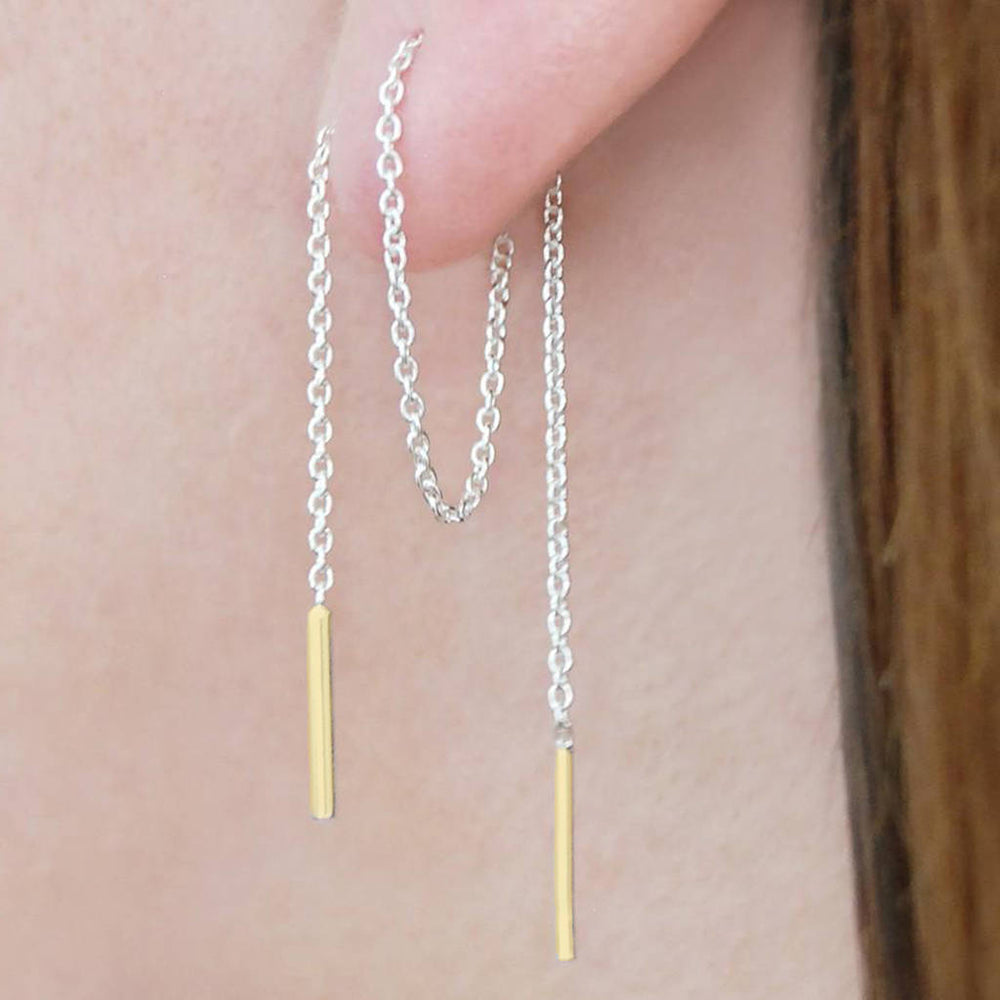 Threader Chain Earrings in Silver and Gold - Otis Jaxon Silver Jewellery