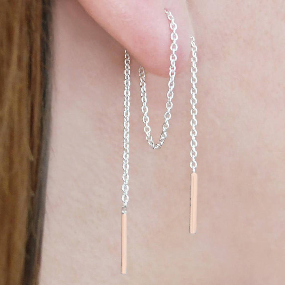 Threader Chain Earrings in Silver and Rose Gold