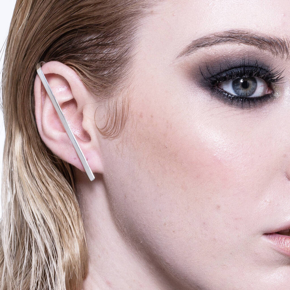 Silver Stud Bar Earring Ear Cuff - Otis Jaxon Silver Jewellery