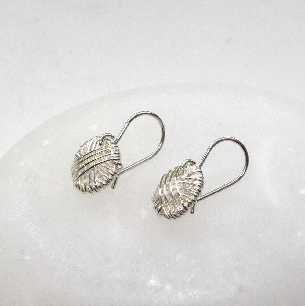 Silver Circle Wire Wrapped Round Drop Earrings