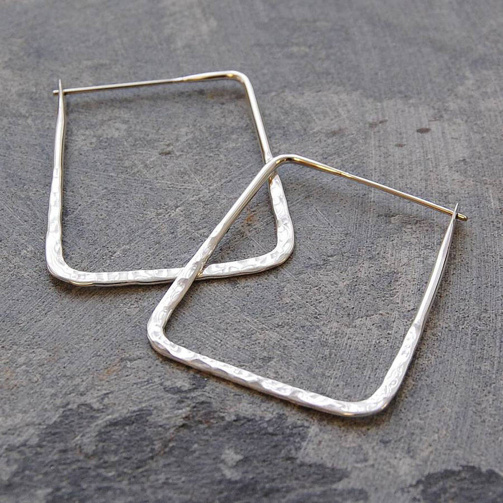 Small Hammered Silver Square Hoop Earrings - Otis Jaxon Silver Jewellery