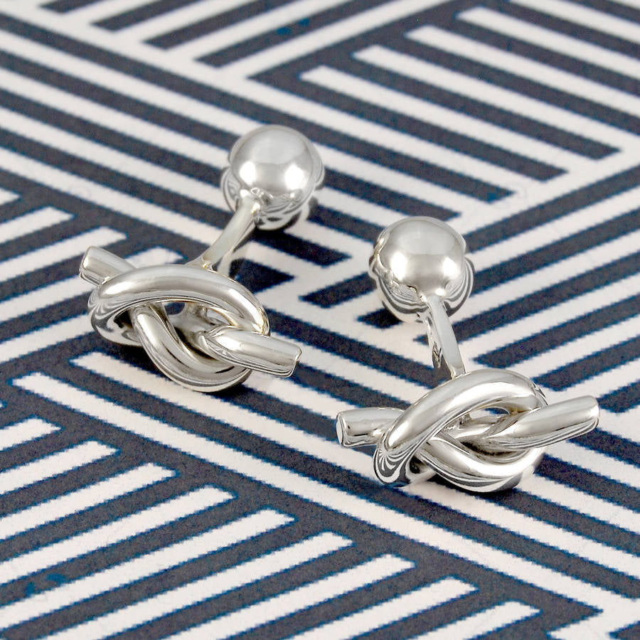 Silver Nautical Knot Cufflinks - Otis Jaxon Silver Jewellery