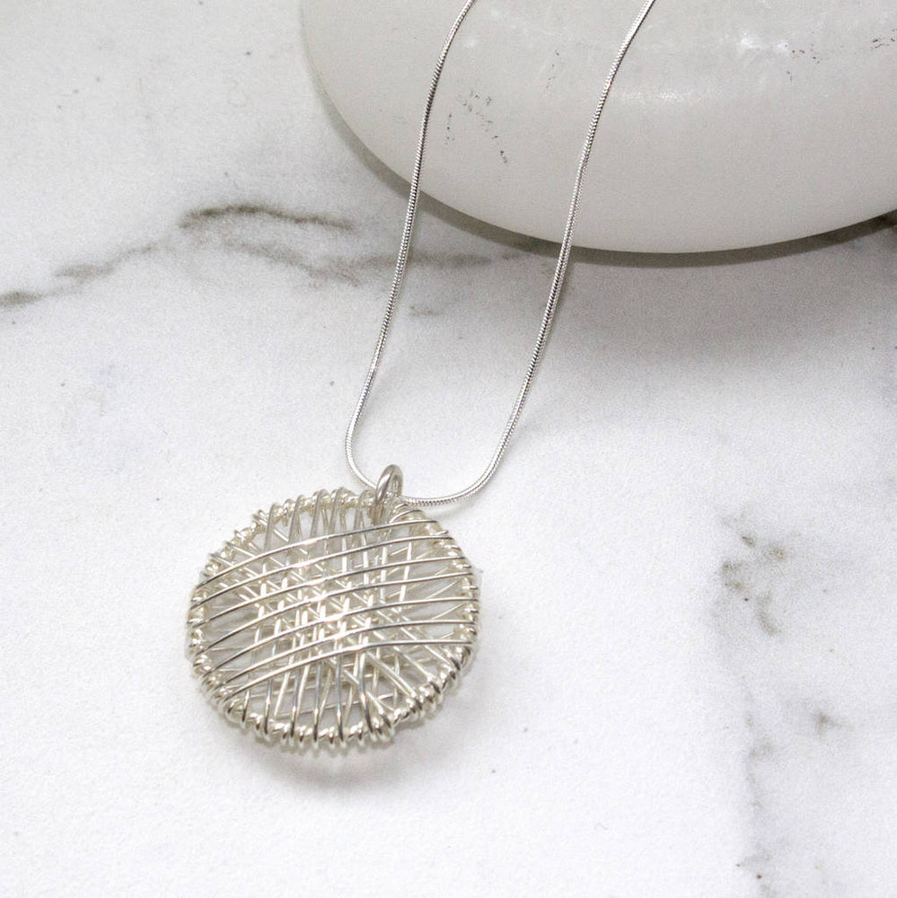 Silver Wire Wrapped Geometric Circle Necklace - Otis Jaxon Silver Jewellery