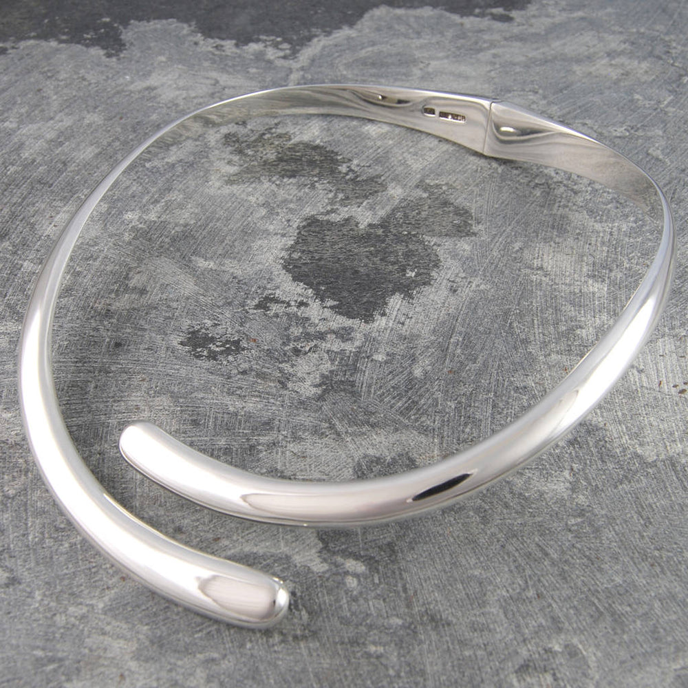 Overlapping Solid Sterling Silver Choker Necklace - Otis Jaxon Silver Jewellery