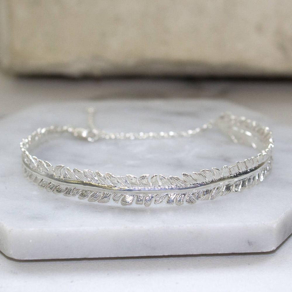 Adjustable Sterling Silver Feather Bracelet - Otis Jaxon Silver Jewellery