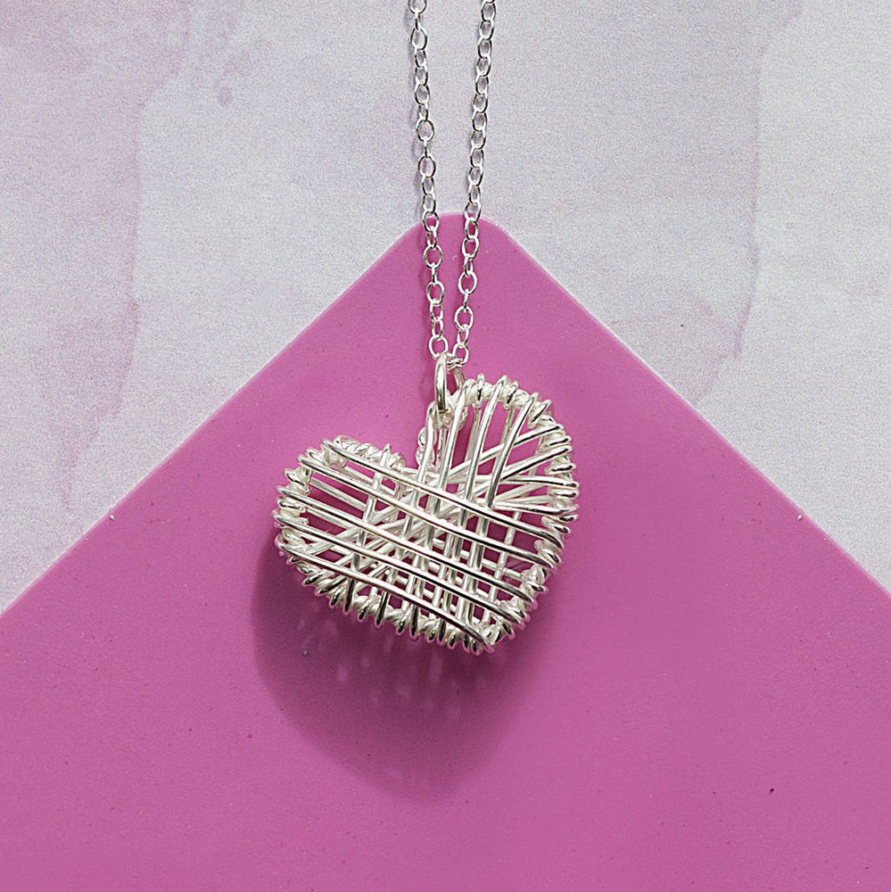 Sterling Silver Interwoven Heart Necklace - Otis Jaxon Silver Jewellery