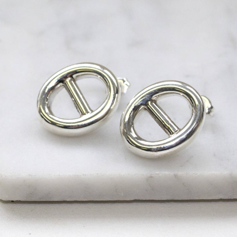 Sterling Silver Oval Statement Stud Earrings