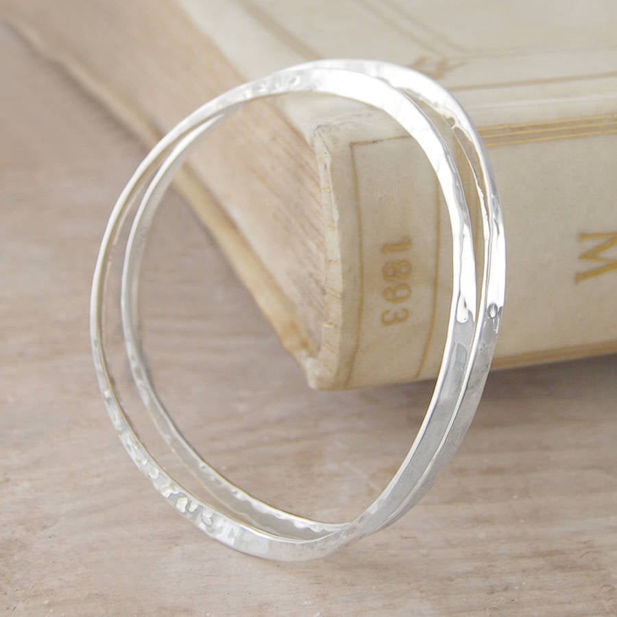 Hammered Curved Silver Bangle - Otis Jaxon Silver Jewellery