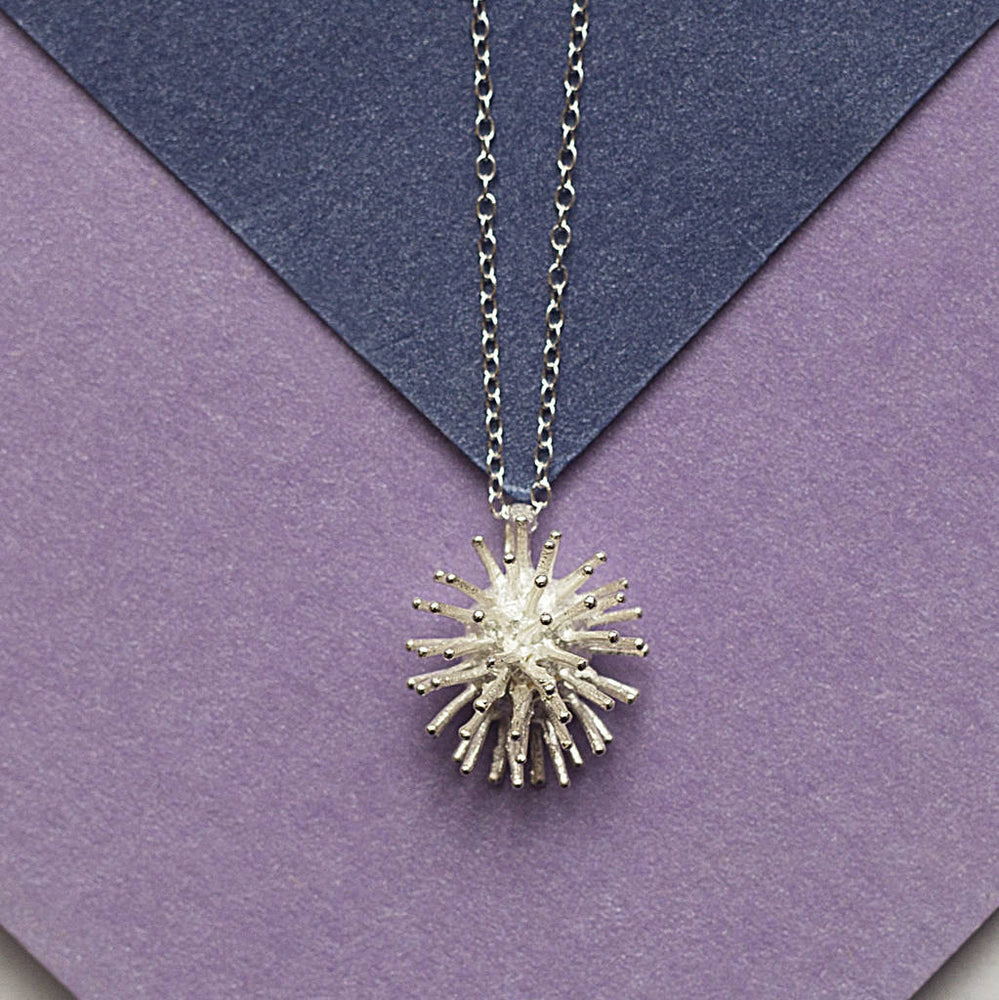 Sterling Silver Spike Flower Necklace