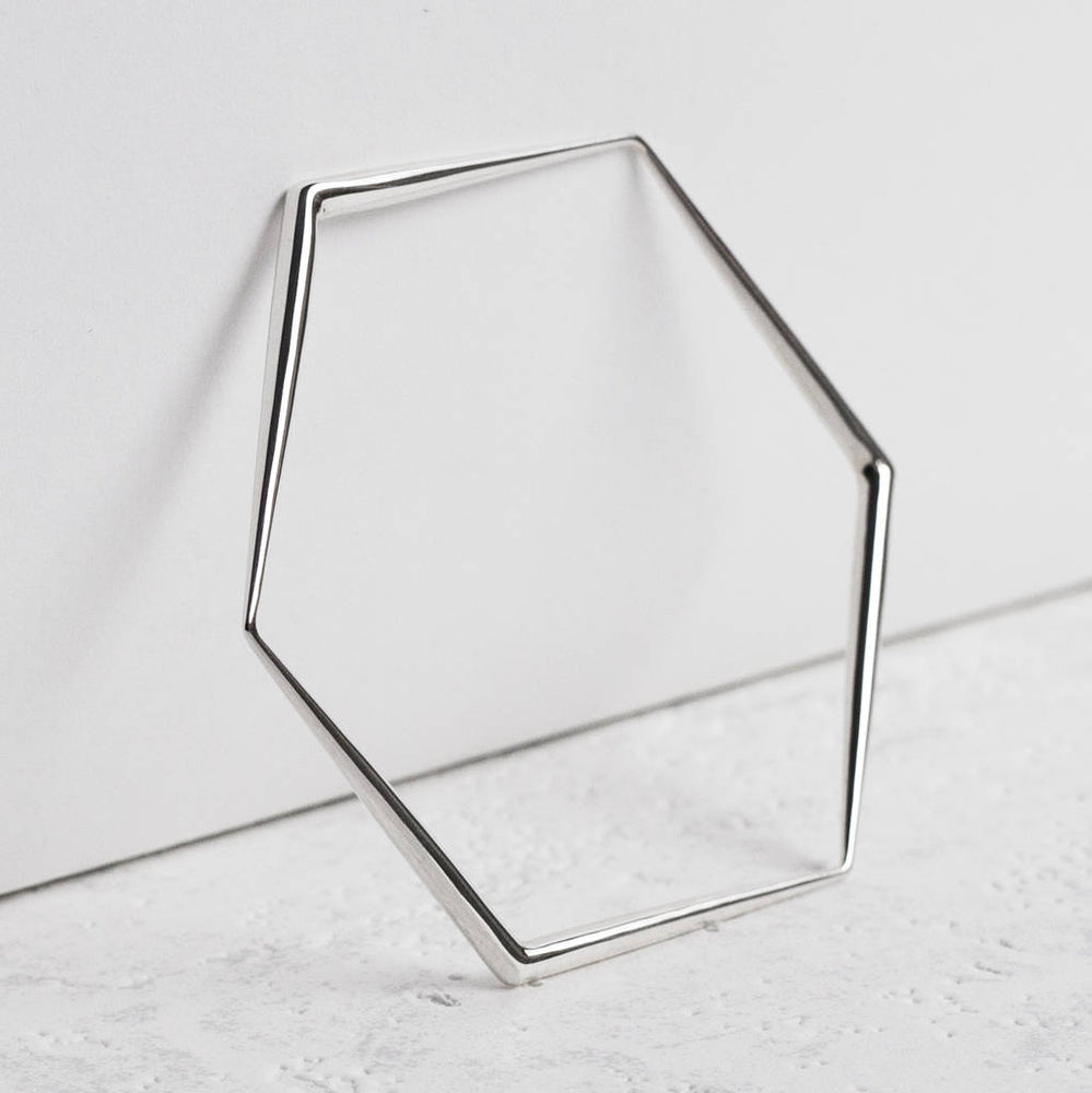 Silver Hexagon Tapered Bangle