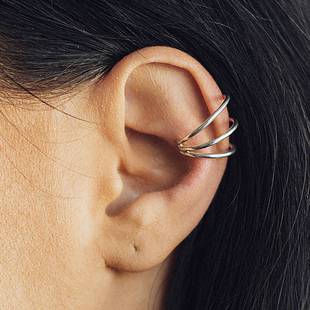 Triple Bar Ear Cuff Sterling Silver Earring