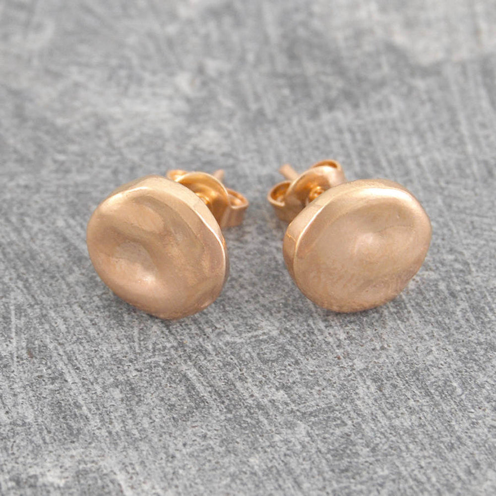 Organic Round Gold Stud Earrings - Otis Jaxon Silver Jewellery
