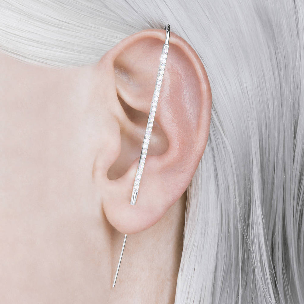 Sterling Silver Diamond Ear Pin Cuff
