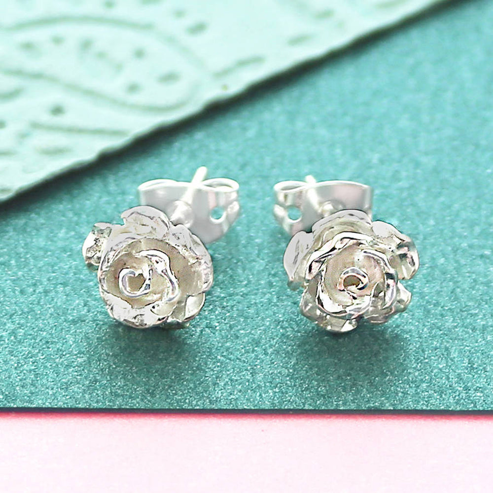 Rose Flower Rose Gold Stud Earrings - Otis Jaxon Silver Jewellery
