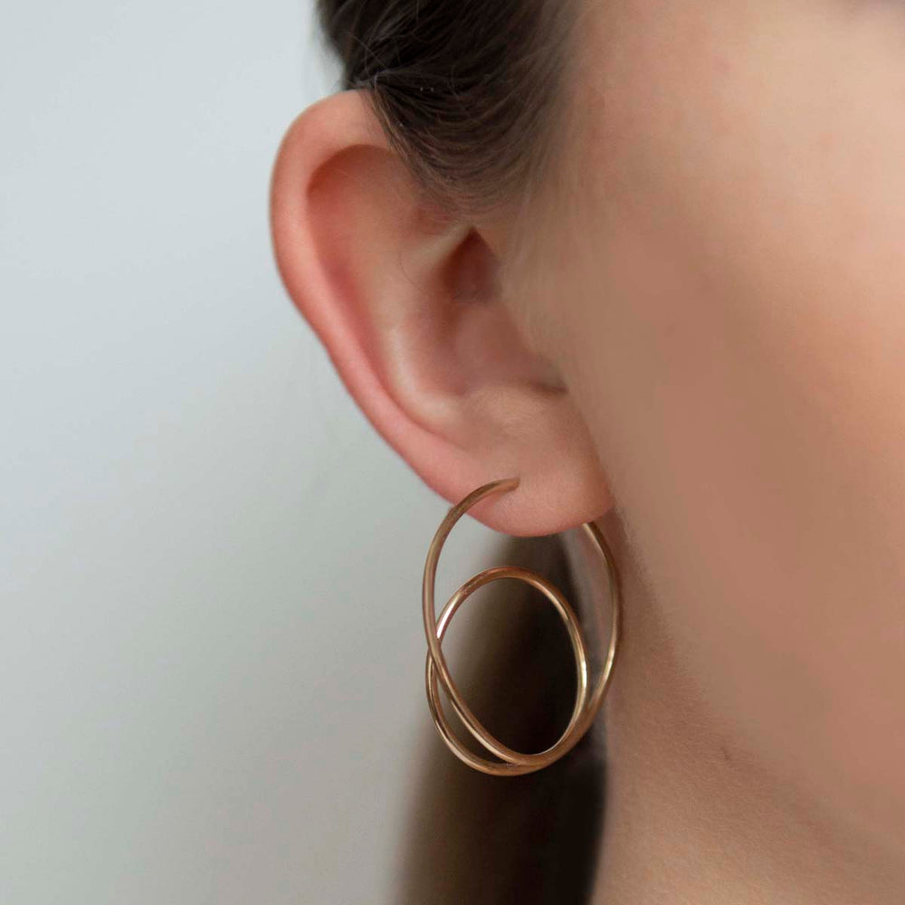 Rose And Yellow Gold Spiral Hoop Earrings