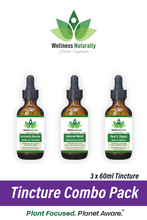 Load image into Gallery viewer, 3 Tincture Combo Pack by Wellness Naturally - 3 x 60ml Tincture