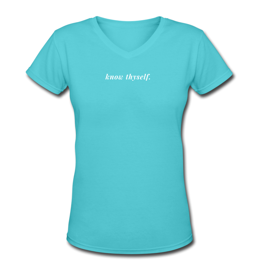 Know Thyself Women's V-Neck T-Shirt - aqua