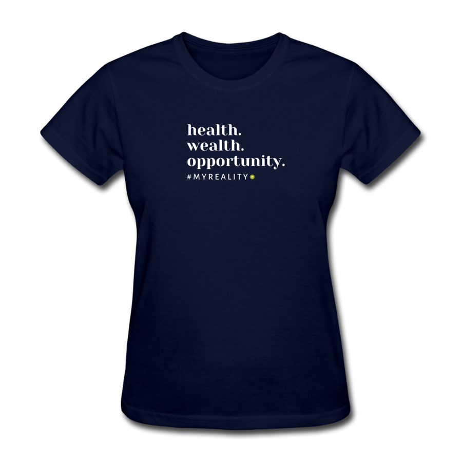Health. Wealth. Opportunity. Women's T-Shirt - navy